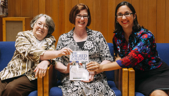 Female rabbis pose together with the new Sacred Calling book