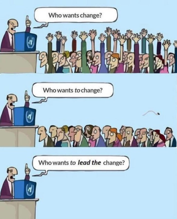 Three panel cartoon of a moderator asking a crowd Who wants change with all hands up and then  who wants TO change with all hands down and then Who wants to lead change with the room suddenly emptied out