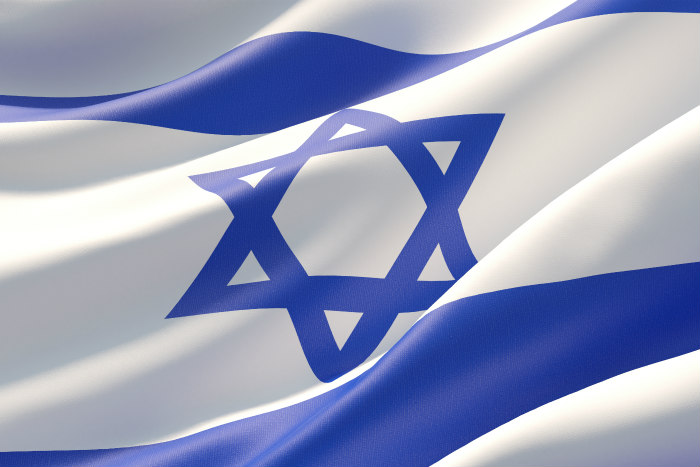 Closeup of the Israeli flag