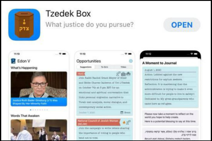 Screenshot of the Tzedek Box app page