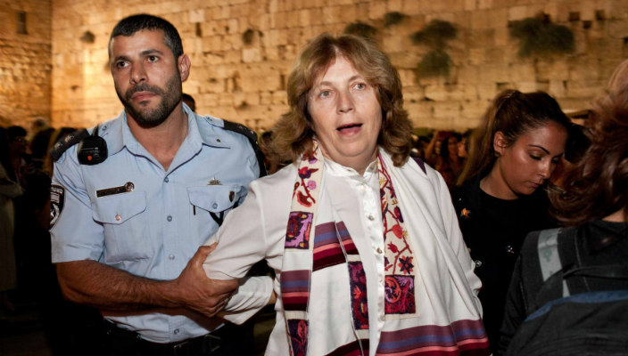 Reform activist Anat Hoffman being arrested at the Western Wall