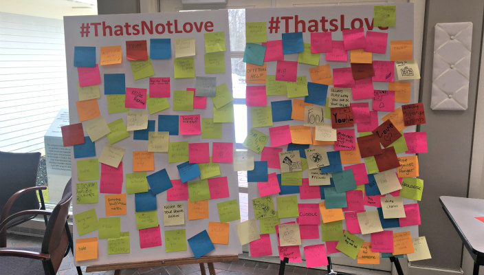 Thats Love and Thats Not Love Post It boards as described in the essay