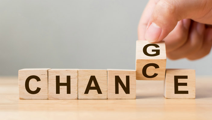 Wooden blocks reading CHANCE and CHANGE
