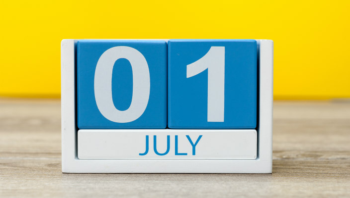 Block calendar that reads: July 01