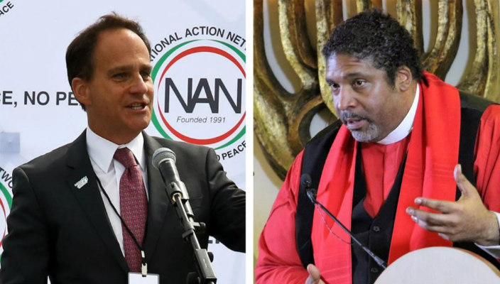 Side by side images of Rabbi Jonah Pesner and Reverend William Barber speaking from podiums at past advocacy events