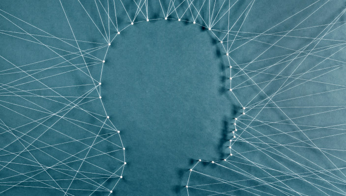 mental illness, silhouette of head made by threadds