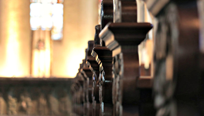 Closeup of pews