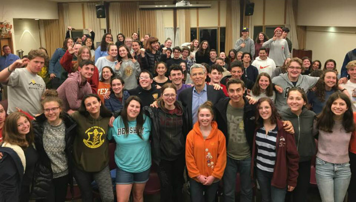 Rabbi Rick Jacobs visits with Heller High students in Israel