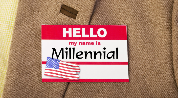 Closeup of a My Name Is nametag with MILLENNIAL where the name would be