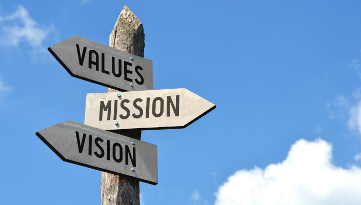 Wooden sign post with three directional signs: Values, Mission, and Vision