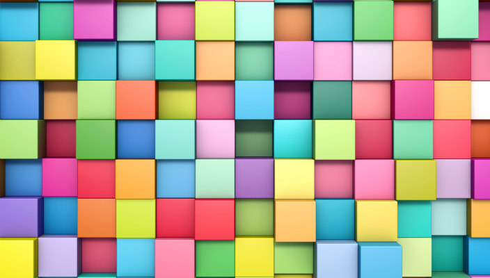 Multi-colored cubes in a random pattern