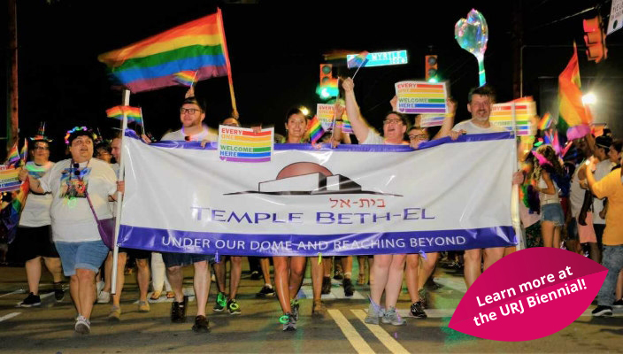 Temple Beth El members and friends participating in a gay pride parade
