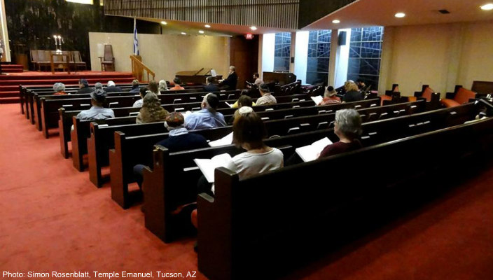 Shabbat service in a synagogue sanctuary