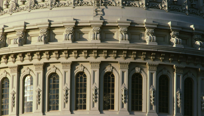 Close-up of exterior of U.S. Capitol dome