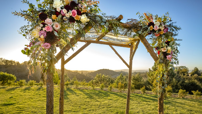 Rustic wood chuppah adorned with roses and greenery in a field with mountains in the background