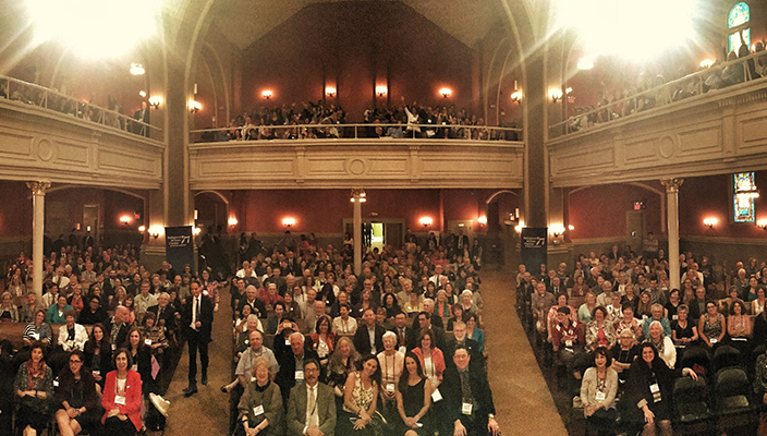 View from bimah of Consultation on Conscience 2017 participants filling sanctuary (including the balcony)