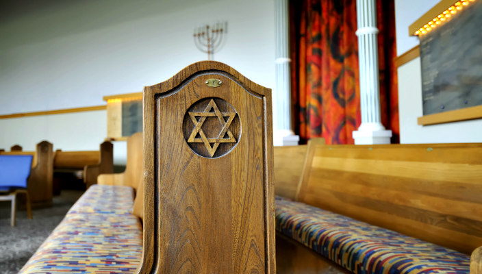 Empty synagogue pews