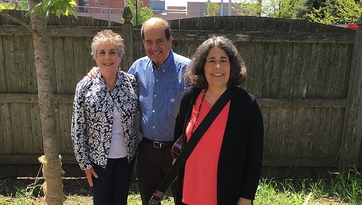 Rabbi Dena Feingold with her brother and sister-in-law at the tree dedication at her congregation in Wisconsin
