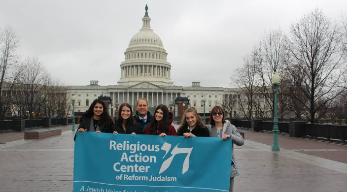 Students from Congregation Kol Tikvah outside U.S. Capitol during L'taken weekend
