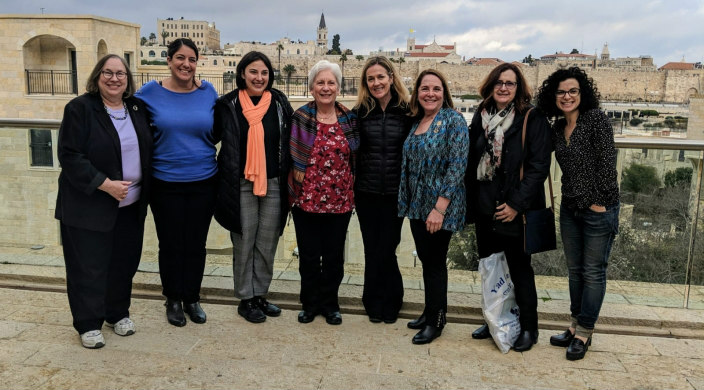 The author (on the left) with other Women of Reform Judaism members in Israel