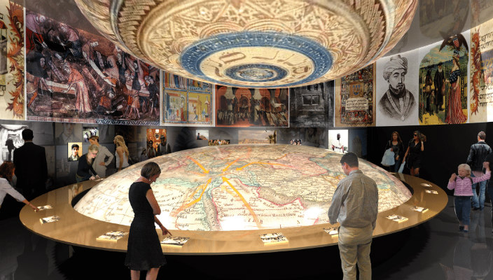 Visitors viewing an exhibit at the museum