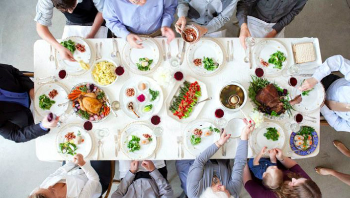 A Passover Seder Table