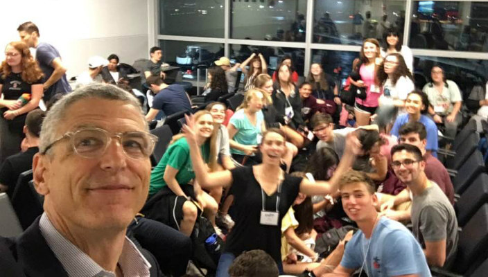Selfie of Rick Jacobs with Camp Coleman teens headed to Israel
