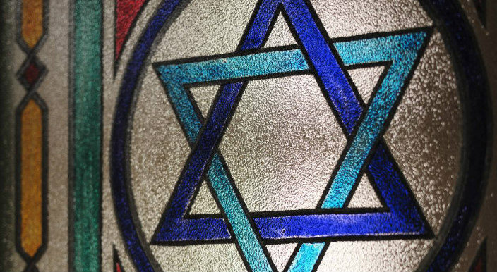 Star of David in stained glass window