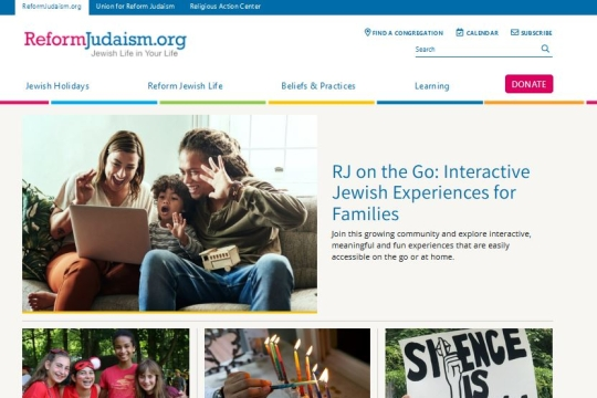 Home page of ReformJudaism dot org website