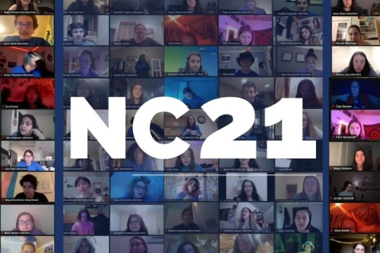 Screencap of teens gathered together on ZOom with an NC21 overlay atop it