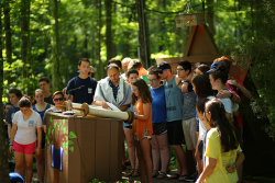 campers reading from the Torah at Shabbat service at URJ Goldman Union Camp Institute - GUCI