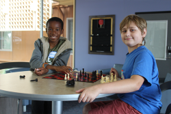 kids playing chess at URJ Sci Tech Academy West