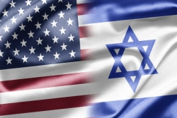 Israeli and American flags blended into one image