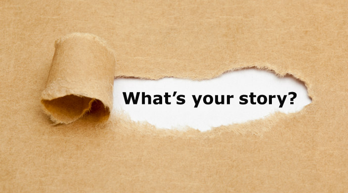 Butcher paper that reveals words through a tear: What's your story?